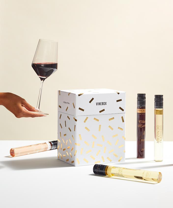 """<h2>12 Nights of Wine Box</h2><br>No judgments; it's 2020 and if you want to sip during the day, have at it. Discover new flavors with Vine Box's modern wine box. Because one bottle just won't cut it. <br><br><strong><em><a href=""""https://fave.co/38PfRg6"""" rel=""""nofollow noopener"""" target=""""_blank"""" data-ylk=""""slk:Shop Vine Box"""" class=""""link rapid-noclick-resp"""">Shop Vine Box</a></em></strong><br><br><strong>Vinebox</strong> 12 Nights of Wine Box, $, available at <a href=""""https://go.skimresources.com/?id=30283X879131&url=https%3A%2F%2Fwww.getvinebox.com%2Fproducts%2F12-nights-of-wine%3F"""" rel=""""nofollow noopener"""" target=""""_blank"""" data-ylk=""""slk:Vinebox"""" class=""""link rapid-noclick-resp"""">Vinebox</a>"""