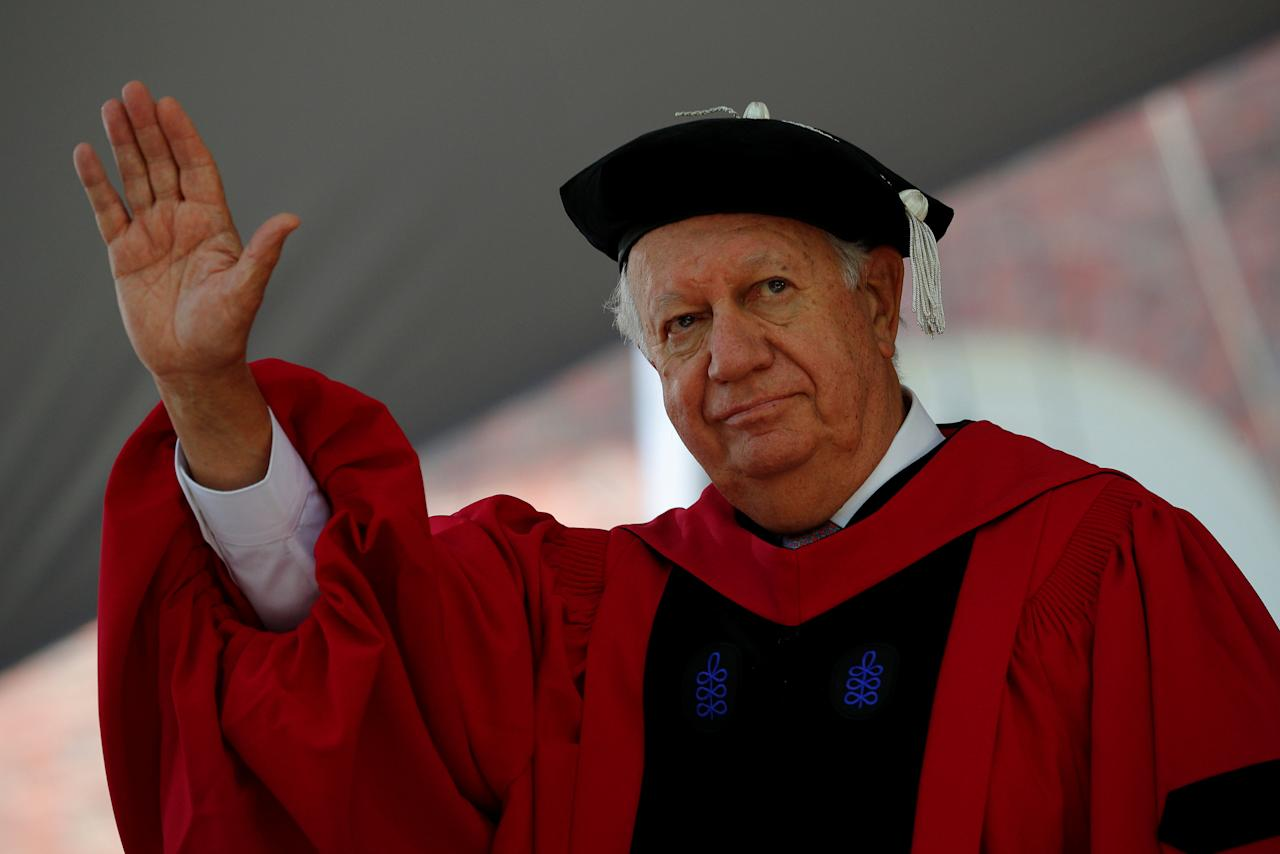Former President of Chile Ricardo Lagos stands to receive his honorary Doctor of Laws degree during the 367th Commencement Exercises at Harvard University in Cambridge, Massachusetts, U.S., May 24, 2018.   REUTERS/Brian Snyder