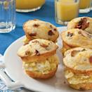 <p>This delicious riff on dinnertime burger <span>sliders</span> features cheesy, bacon-y cornbread muffins cut in half and stuffed with scrambled eggs. Serve with orange juice and a side of fresh fruit. </p>