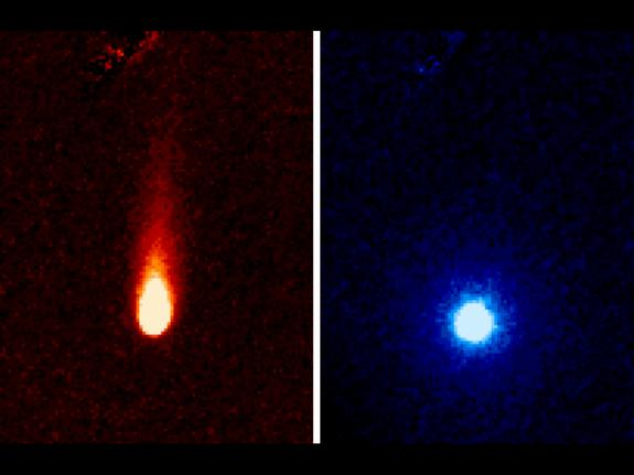 These images from NASA's Spitzer Space Telescope of Comet ISON were taken on June 13, 2013, when ISON was 312 million miles (502 million kilometers) from the sun. The lefthand image shows a tail of fine rocky dust issuing from the comet, blown