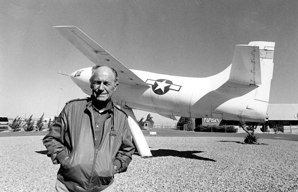 FILE - In this Sept. 4, 1985, file photo, Chuck Yeager, the first pilot to break the sound barrier in 1947, poses at Edwards Air Force Base, Calif., in front of the rocket-powered Bell X-IE plane that he flew. Yeager died Monday, Dec. 7, 2020, at age 97. (AP Photo/Douglas C. Pizac, File)