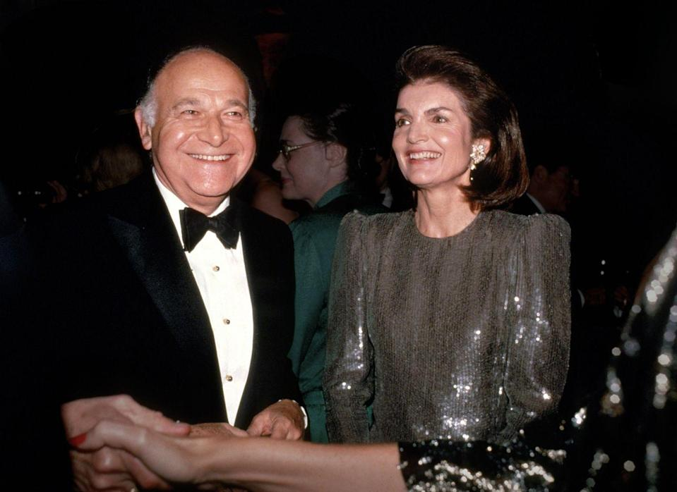 "<p>Jackie and her<a href=""https://www.townandcountrymag.com/society/tradition/a27243432/jackie-kennedy-onassis-maurice-tempelsman-relationship/"" rel=""nofollow noopener"" target=""_blank"" data-ylk=""slk:companion for the last decade of her life, Maurice Tempelsman"" class=""link rapid-noclick-resp""> companion for the last decade of her life, Maurice Tempelsman</a>.</p>"