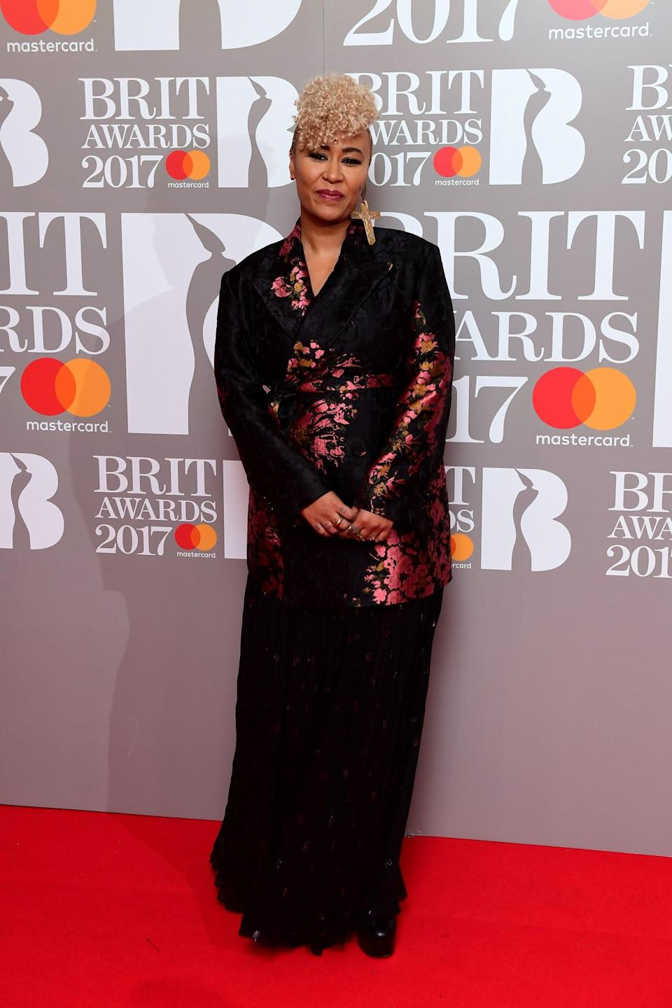 <p>Emeli covered up in an oriental-printed jacket. <i>[Photo: PA]</i> </p>