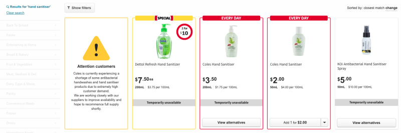 Coles has sold out of several hand sanitiser products. Image: Coles