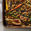<p>A tangy, balsamic dressing and nutty Parmesan cheese combine to coat tender roasted vegetables and chickpeas in this springy vegetarian dinner. To keep it vegetarian, serve it over quinoa or, for meat-eaters, serve with roasted chicken or pan-seared fish.</p>