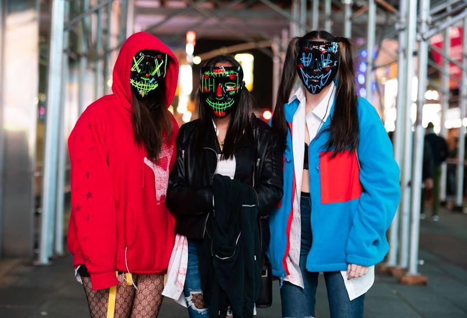 """<p>Shopping on a budget? These creepy<em> Purge</em> masks are very unsettling when paired with an oversized hoodie.</p><p><a class=""""link rapid-noclick-resp"""" href=""""https://www.amazon.com/dp/B07TF62XFD?tag=syn-yahoo-20&ascsubtag=%5Bartid%7C10070.g.28669645%5Bsrc%7Cyahoo-us"""" rel=""""nofollow noopener"""" target=""""_blank"""" data-ylk=""""slk:SHOP MASKS"""">SHOP MASKS</a></p>"""