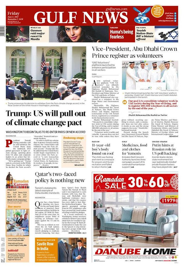"<p>""Gulf News,"" published in Dubai, United Arab Emirates. (Newseum) </p>"