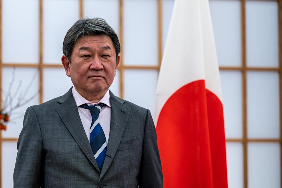 Japans Foreign Minister Toshimitsu Motegi poses for a photo at the Ministry for Foreign Affairs in Tokyo on November 18, 2020. (Photo by Philip FONG / AFP) (Photo by PHILIP FONG/AFP via Getty Images)