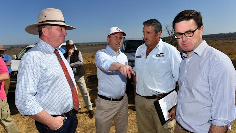 Josh Frydenberg and David Littleproud are on a three-day visit to drought-affected towns