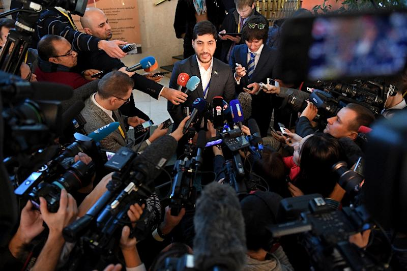 Osama Abu Zeid -- a member of the rebel delegation -- speaks to the media during the Syria peace talks in Astana, on January 24, 2017 (AFP Photo/KIRILL KUDRYAVTSEV)