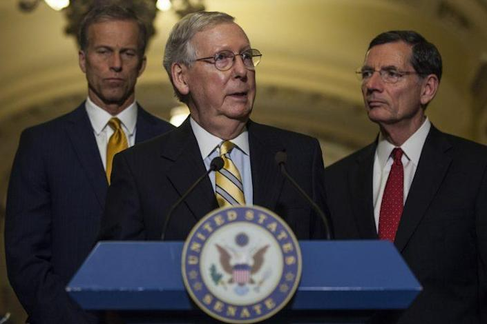 Senate Majority Leader Mitch McConnell speaks during a weekly press conference following a policy luncheon on Capitol Hill, June 13, 2017. (Photo: Zach Gibson/Getty Images)