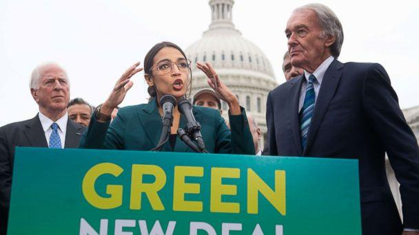 PHOTO: Rep. Alexandria Ocasio-Cortez and Sen. Ed Markey speak during a press conference to announce Green New Deal legislation to promote clean energy programs outside the U.S. Capitol in Washington, Feb. 7, 2019. (Saul Loeb/AFP/Getty Images, FILE)