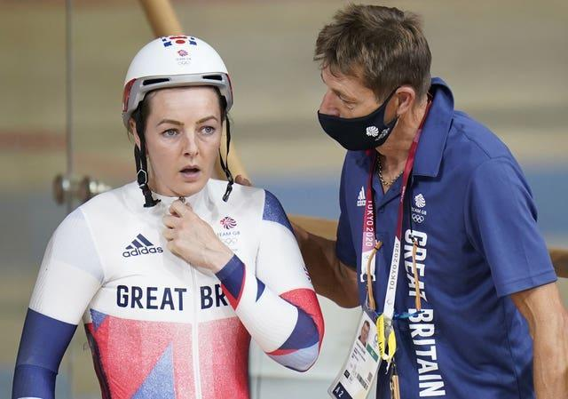 Great Britain's Katy Marchant reacts after colliding with Netherlands' Laurine Van Riessen