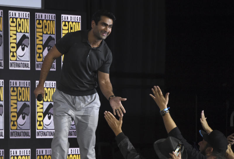 Kumail Nanjiani greets fans at the Marvel Studios panel on day three of Comic-Con International on Saturday, July 20, 2019, in San Diego. (Photo by Chris Pizzello/Invision/AP)