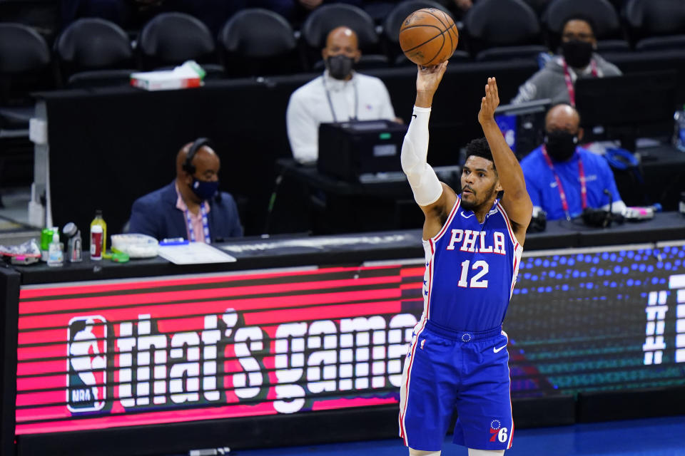 Philadelphia 76ers' Tobias Harris goes up for a shot during the first half of Game 5 in a first-round NBA basketball playoff series against the Washington Wizards, Wednesday, June 2, 2021, in Philadelphia. (AP Photo/Matt Slocum)