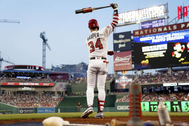 "<a class=""link rapid-noclick-resp"" href=""/mlb/players/8875/"" data-ylk=""slk:Bryce Harper"">Bryce Harper</a> will represent the Nationals in the 2018 MLB All-Star Game. (AP Photo/Andrew Harnik)"