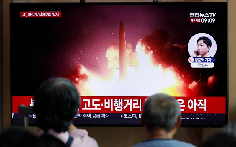 The reported launch comes amid anger in Pyongyang at joint US-South Korea military exercise, which it has called a 'rehearsal for war' - AP