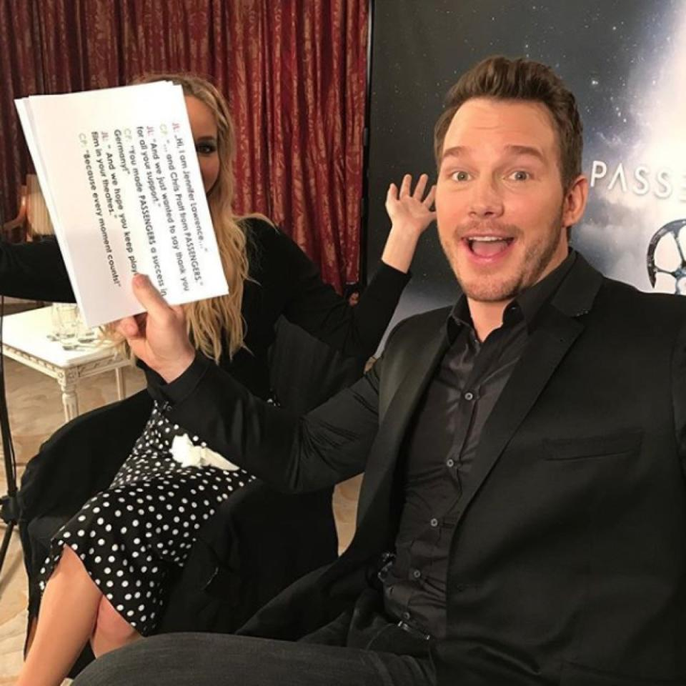 "When <strong>Chris Pratt</strong> and <strong>Jennifer Lawrence</strong> were promoting their 2016 <a rel=""nofollow"" href=""https://bestlifeonline.com/long-predicted-technologies-never-happening/?utm_source=yahoo-news&utm_medium=feed&utm_campaign=yahoo-feed"">sci-fi movie</a> <i>Passengers</i> together, Pratt used his <a rel=""nofollow"" href=""https://bestlifeonline.com/funny-celebrity-instagrams-2018/?utm_source=yahoo-news&utm_medium=feed&utm_campaign=yahoo-feed"">Instagram account</a> to play a little trick on J. Law. In every photo Pratt posted of his costar, he hilariously cropped her out. (Exhibit <a rel=""nofollow"" href=""https://www.instagram.com/p/BNhZYNGBArK/"">A</a>, <a rel=""nofollow"" href=""https://www.instagram.com/p/BNcDm-6Bcp9/"">B</a>, <a rel=""nofollow"" href=""https://www.instagram.com/p/BNeqSUuBLMJ/"">C</a>—you get the point.) ""Another day down with me and my best buddy Jen,"" he joked.  A couple weeks later on <a rel=""nofollow"" href=""https://www.youtube.com/watch?v=T5AdquDjiyE""><i>Jimmy Kimmel Live</i></a>, Lawrence spray-painted over Pratt's face on the side of a tour bus that featured an ad for <i>Passengers</i>. ""I feel better,"" she said."
