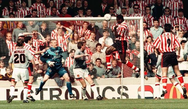 Manchester United changed out of their grey kit midway through a 3-1 loss at Southampton on April 13, 1996