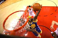 DeMarcus Cousins #0 of the Golden State Warriors attempts a shot against the Toronto Raptors during Game Two of the 2019 NBA Finals at Scotiabank Arena on June 02, 2019 in Toronto, Canada. (Photo by Kyle Terada - Pool/Getty Images)