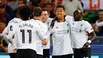 <p>Soccer Football – Champions League Semi Final Second Leg – AS Roma v Liverpool – Stadio Olimpico, Rome, Italy – May 2, 2018 Liverpool's Sadio Mane celebrates scoring their first goal with team mates REUTERS/Tony Gentile </p>