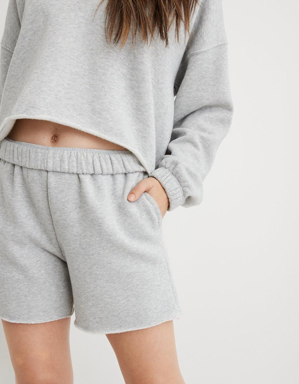 "Not sure what's better: the price or how cozy these shorts are. The flipped waistband is super cute too. $35, Aerie. <a href=""https://www.ae.com/us/en/p/aerie/bottoms/shorts/aerie-fleece-of-mind-high-waisted-short/0671_7592_012"" rel=""nofollow noopener"" target=""_blank"" data-ylk=""slk:Get it now!"" class=""link rapid-noclick-resp"">Get it now!</a>"