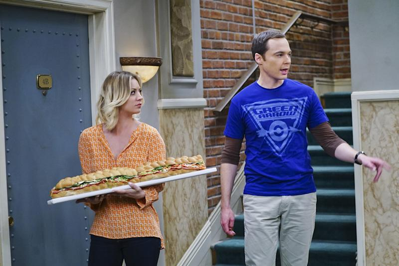 "LOS ANGELES - MARCH 29: ""The Viewing Party Combustion"" --Everyone must choose sides when a small argument between Leonard and Sheldon (Jim Parsons, right) erupts into a heated fight during a group get-together, on THE BIG BANG THEORY, Thursday, April 21 (8:00-8:31 PM, ET/PT) on the CBS Television Network. Also pictured: Kaley Cuoco (left) (Photo by Monty Brinton/CBS via Getty Images)"