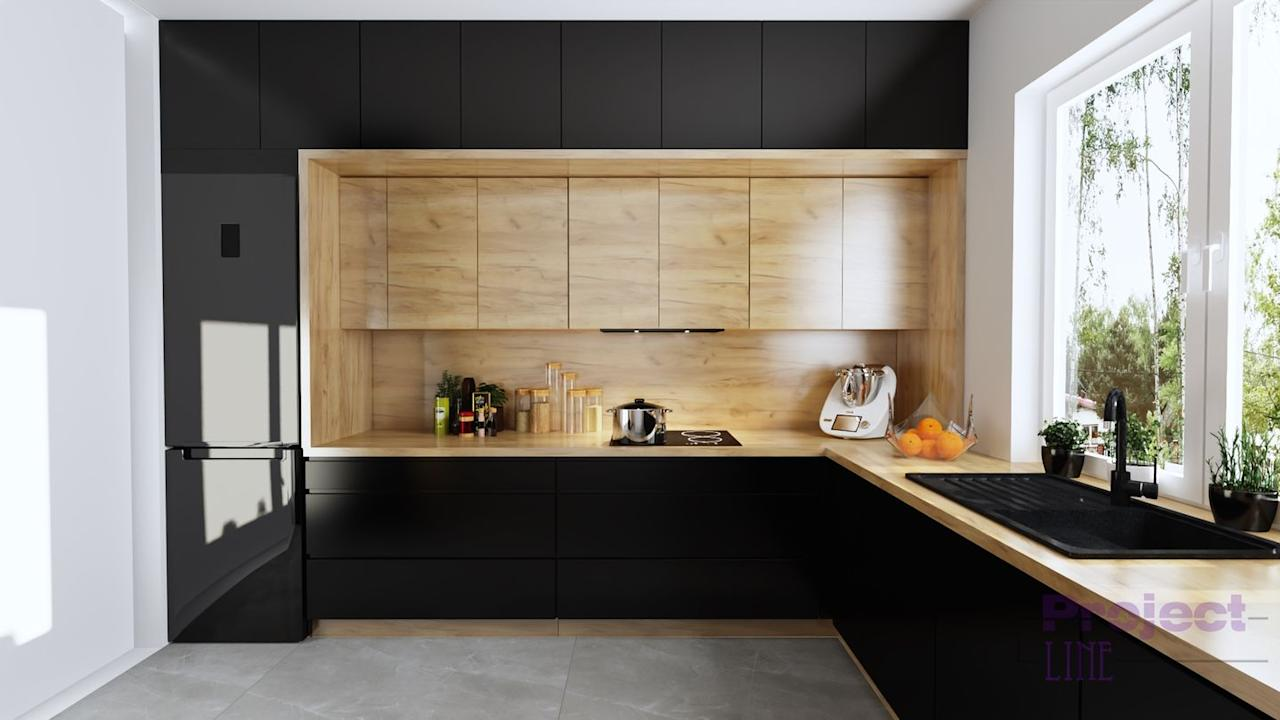 """<p>Love the look of natural wood but can't stop swooning over black cabinetry? Consider combining the two with this minimalist wood kitchen idea. </p><p><strong>See more at <a href=""""https://www.facebook.com/ProjectLineWizualizacja/"""" target=""""_blank"""">Project Line</a>.</strong></p><p><strong><a class=""""body-btn-link"""" href=""""https://www.amazon.com/Cabinet-Stainless-Kitchen-Drawer-Handles/dp/B07SPXKNXN/?tag=syn-yahoo-20&ascsubtag=%5Bartid%7C10050.g.31265776%5Bsrc%7Cyahoo-us"""" target=""""_blank"""">SHOP KITCHEN HARDWARE</a><br></strong></p>"""