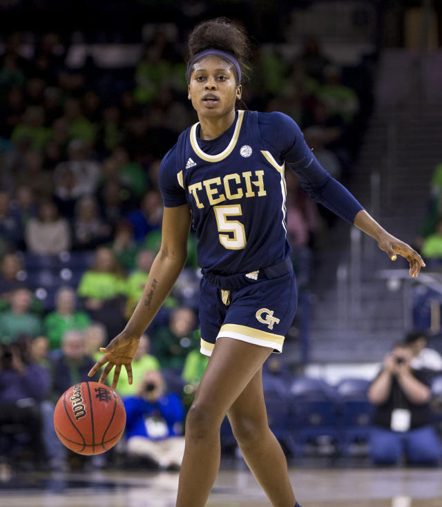 Georgia Tech's Elizabeth Balogun (5) brings the ball downcourt during an NCAA college basketball game against Notre Dame Sunday, Feb. 3, 2019, in South Bend, Ind. Notre Dame won 90-50. (AP Photo/Robert Franklin)