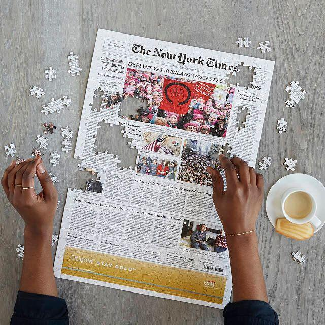 "You can choose any New York Times cover since 1851 to make into a unique memento. Get it <a href=""https://www.uncommongoods.com/product/new-york-times-custom-front-page-puzzle"" target=""_blank"" rel=""noopener noreferrer"">at Uncommon Goods</a> for $66."