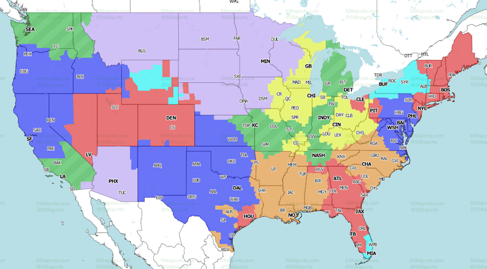 Fox Sports NFL broadcast map for Week 2.