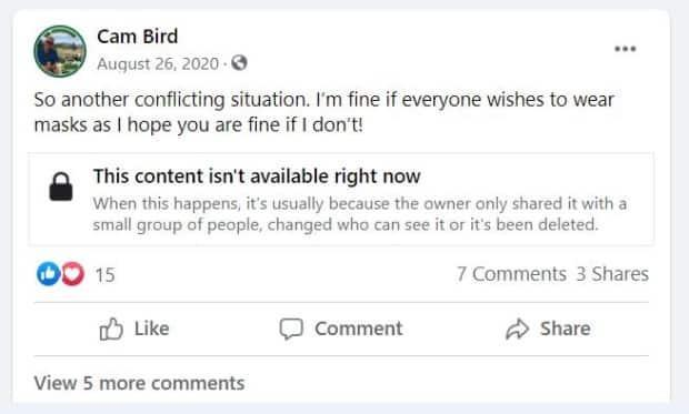Saskatoon real estate agent Cam Bird has posted frequent criticisms of COVID-19 public health laws, saying he won't get vaccinated or wear a mask. Critics say this is important information for potential clients to know.