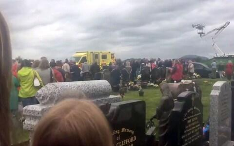 Image taken with permission from a video posted on twitter by @Simonc46176551 of the scene in St Patrick's cemetery, Dowdallshill in Dundalk - Credit: PA