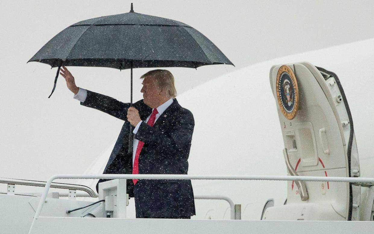 <span>President Donald Trump waves before boarding Air Force One at Andrews Air Force Base, Md., Friday, July 28, 2017, en route to Brentwood, N.Y. close to where the ultra-violent street gang MS-13 has committed a string of gruesome murders</span> <span>Credit: AP </span>
