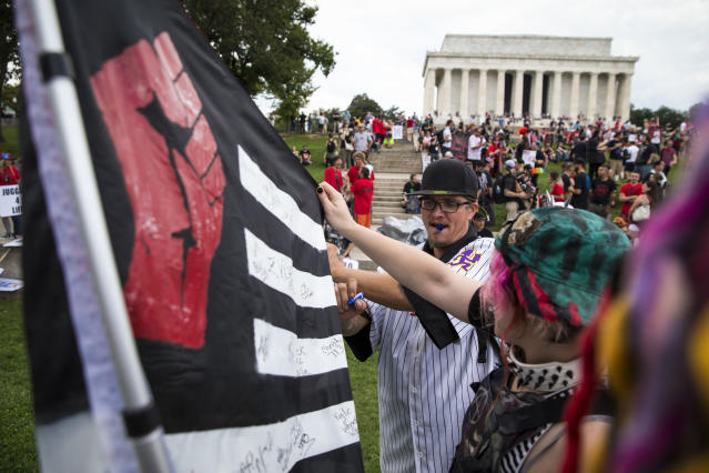 <p>=People gather for a rally before the start of the Juggalo March, at the Lincoln Memorial on the National Mall, Sept. 16, 2017 in Washington. (Photo: Al Drago/Getty Images) </p>