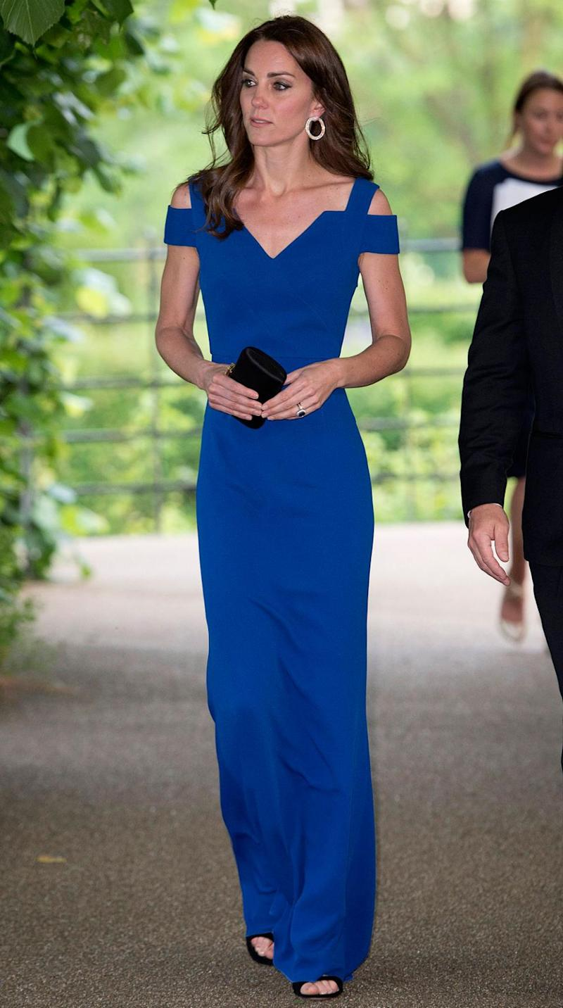 In June Kate dazzled in this royal blue Roland Mouret gown. Photo: Getty.