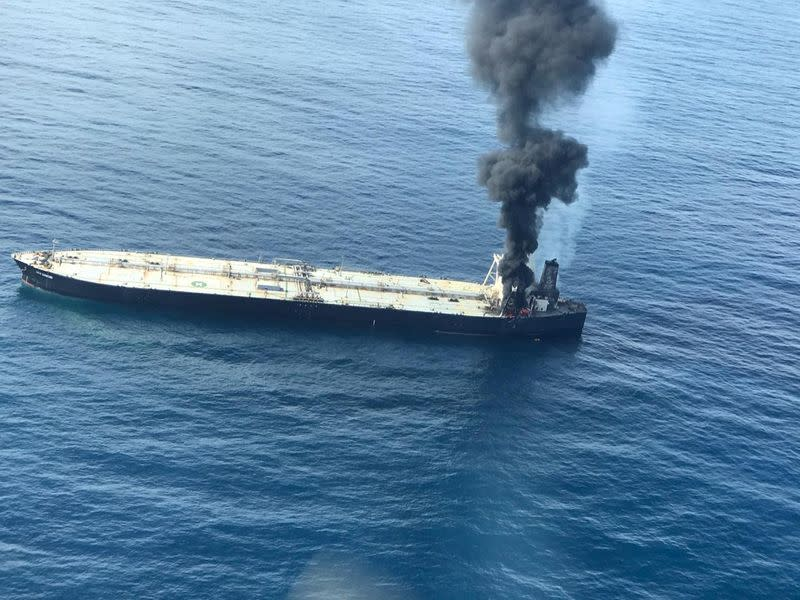 Blaze breaks out again on oil tanker off Sri Lanka, cargo area intact