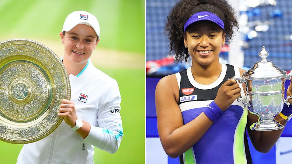 Seen here, Ash Barty with the Wimbledon trophy and Naomi Osaka holding the US Open silverware aloft.