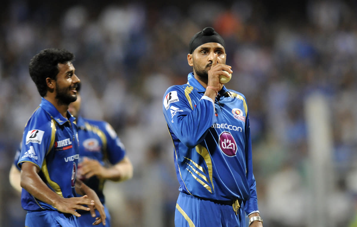 Harbhajan Singh of Mumbai Indians gestures towards the crows as he celebrates the wicket of Debabrata Das of Kolkata Knight Riders during match 53 of the Pepsi Indian Premier League ( IPL) 2013  between The Mumbai Indians and the Kolkata Knight Riders held at the Wankhede Stadium in Mumbai on the 7th May 2013 ..Photo by Pal Pillai-IPL-SPORTZPICS  ..Use of this image is subject to the terms and conditions as outlined by the BCCI. These terms can be found by following this link:..https://ec.yimg.com/ec?url=http%3a%2f%2fwww.sportzpics.co.za%2fimage%2fI0000SoRagM2cIEc&t=1506314824&sig=fiE96OYvM30K6wo7nXd.zQ--~D