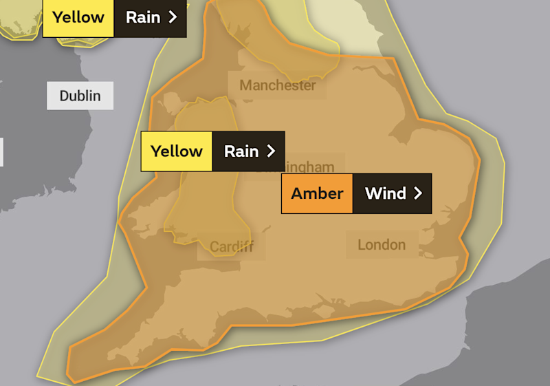 Amber warning: Met Office map of southern Britain: Met Office