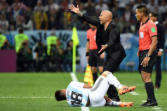 Argentina coach Jorge Sampaoli was left enraged by Rebic's stamp on Salvio, which sparked the game into life. (Getty)
