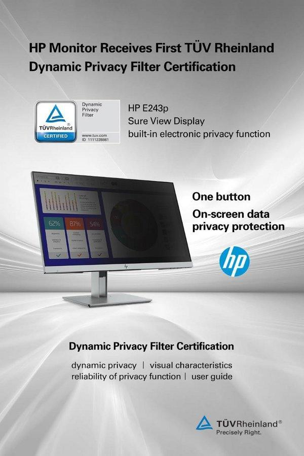 HP Monitor Receives First TÜV Rheinland Dynamic Privacy Filter Certification