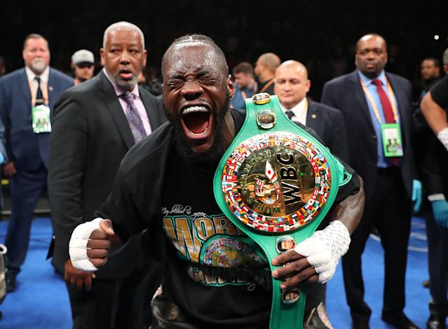 Wilder celebrates after knocking out Dominic Breazeale (Photo by Al Bello/Getty Images)