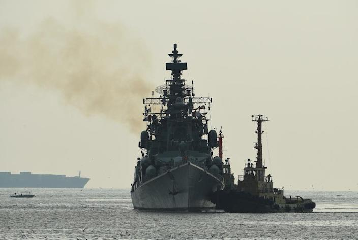 Two Indian warships will help to reassure Indian-flagged commercial vessels in the tension-plagued Gulf region -- an Indian guided missile destroyer (C) is pictured on a previous mission (AFP Photo/TED ALJIBE)
