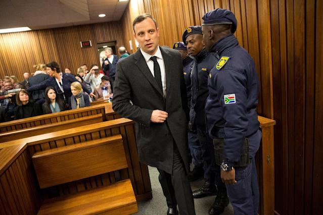 Olympic and Paralympic track star Oscar Pistorius arrives for sentencing at the North Gauteng High Court in Pretoria, South Africa, July 6, 2016. REUTERS/Marco Longari/Pool. TPX IMAGES OF THE DAY