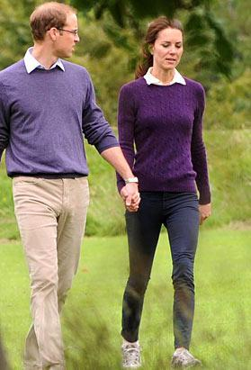 The Duke and Duchess of Cambridge, Prince William and Catherine, sported matching cable-knit, school-style sweaters for a walk in Holyrood Park on August 1st, 2011, in Scotland.