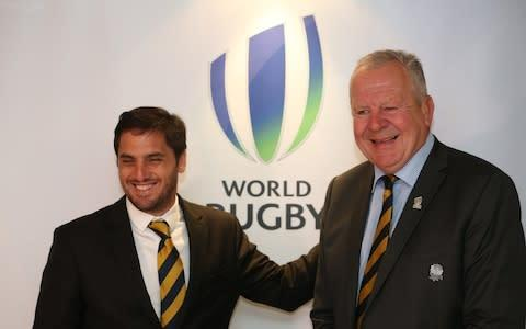 <span>Agustin Pichot with World Rugby's chairman, Bill Beaumont</span> <span>Credit: GETTY IMAGES </span>