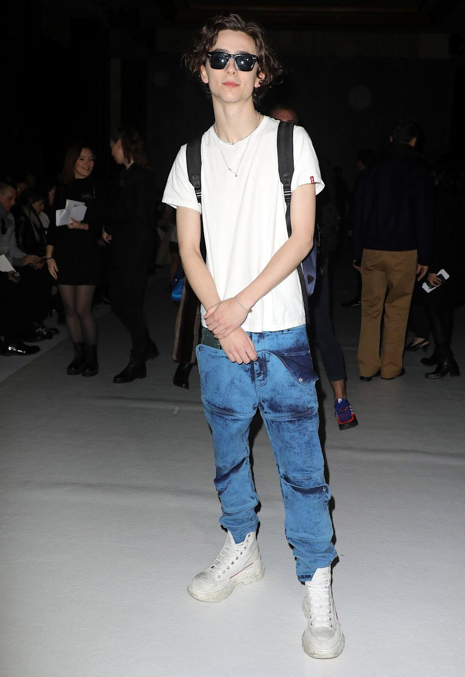 "<h2>Alexander McQueen</h2>No one does a white T-shirt and jeans quite like Timothée Chalamet.<span class=""copyright"">Photo: Pierre Suu/Getty Images.</span>"