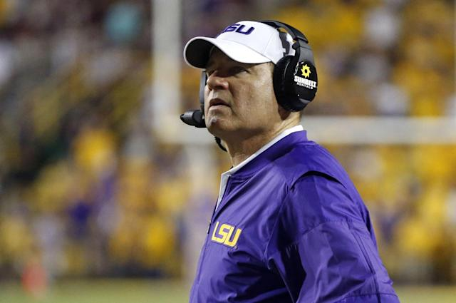Les Miles was fired after LSU opened the season 2-2. (AP)