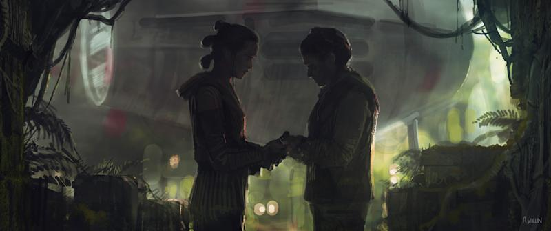 Rey and Leia in a composition study included in 'The Art of Star Wars: The Rise of Skywalker' (Photo: Abrams Books, 2020/2020 Lucasfilm Ltd.)